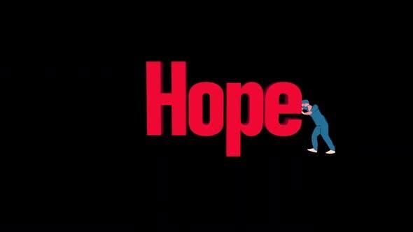 Cartoon Doctor Pushing Hope