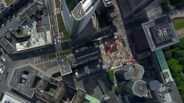 AERIAL: Breathtaking Overhead Bird View View of Frankfurt Am Main, Germany Skyline in Summer