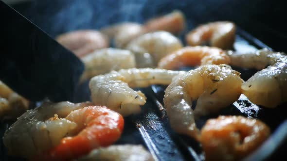 Thumbnail for Mixed Large Red Shrimps Are Fried in Hot Boiled Oil on Pan, Close-up