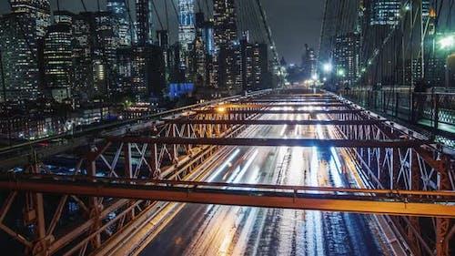 Rain in New York Traffic Cars on the Famous Brooklyn Bridge