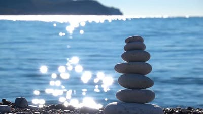 Zen Stones on Beach for Perfect Meditation