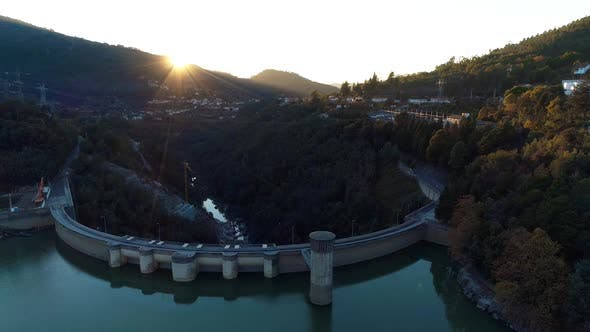Thumbnail for Aerial Dam at Sunset