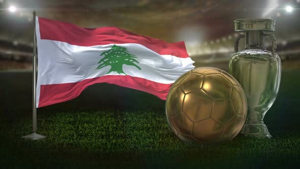Lebanon Flag With Football And Cup Background Loop