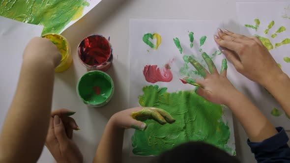 Thumbnail for Children Hands Finger Painting with Various Colors