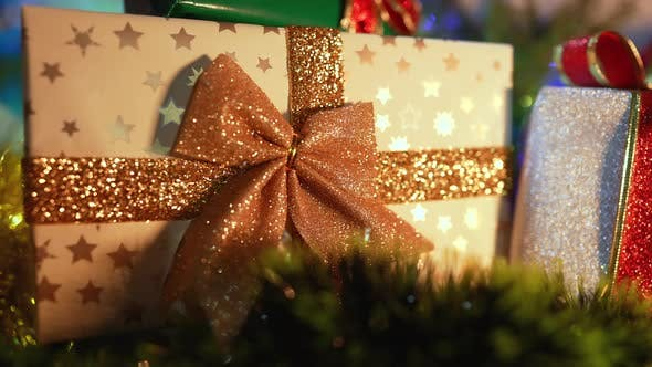 Thumbnail for Closeup of Christmas Background with Gift Box