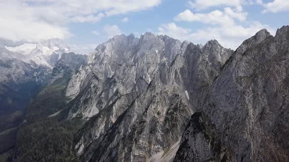 Aerial of Gosaukamm and Gosausee Austria