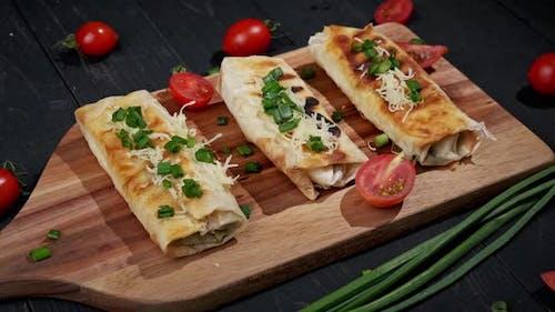 Shawarma Sandwich Fresh Roll of Lavash Shawarma Falafel C Filled with Fried Mushrooms Cheese