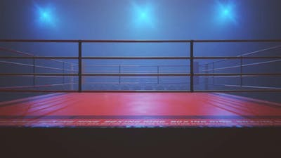 Animation with metal vintage microphone above the boxing ring. Camera flashes.