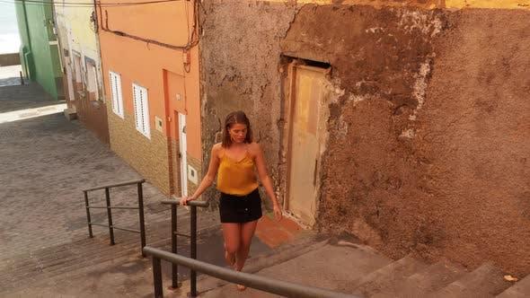 Thumbnail for Model Wearing Black Shorts Climbing Stairs