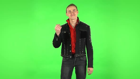 Thumbnail for Guy Waving Hand and Showing Gesture Come Here. Green Screen
