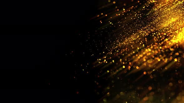 Gold Dust Particles.  Abstract Motion Background of a Cloud of Glimmering.