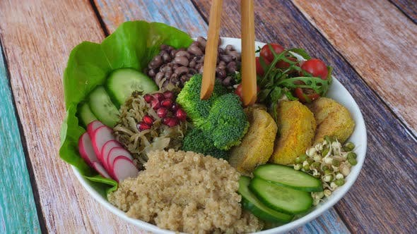 Closeup Of Superfood Vegan Healthy Bowl. Healthy Eating Concept.