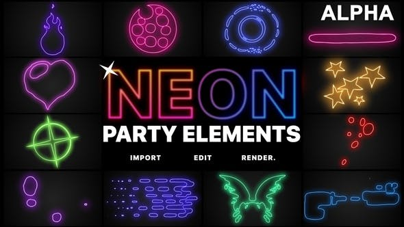Thumbnail for Neon Party Elements | Motion Graphics Pack