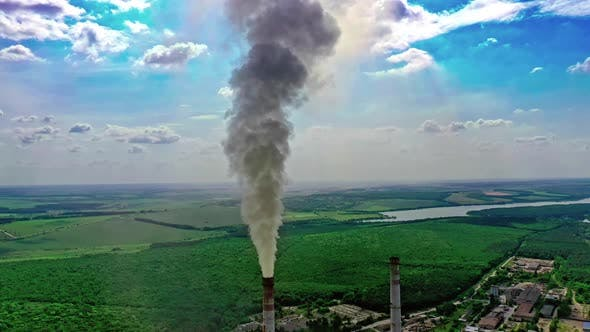 Thumbnail for Aerial View of Pipes of the Thermal Power Plant