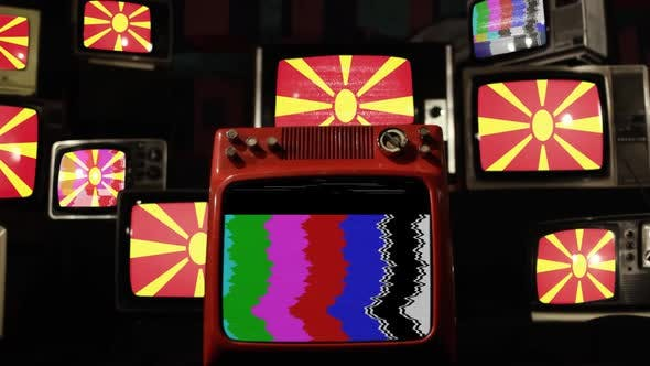 Thumbnail for The flag of North Macedonia and Retro TVs.