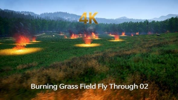 Thumbnail for Burning Grass Field Fly Through 4K 02