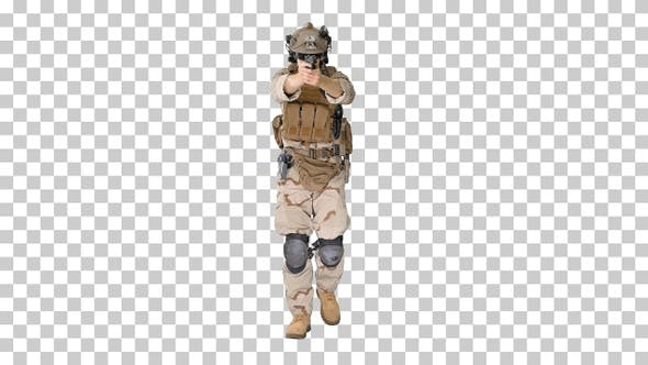 Thumbnail for Soldier walking and shooting from hand gun, Alpha Channel