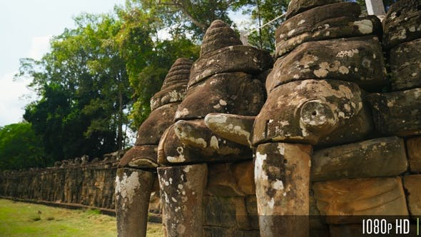 Ancient Terrace Of The Elephants in Angkor Thom, Siem Reap, Cambodia