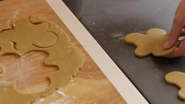 Placing gingerbread cookies on cookie sheet