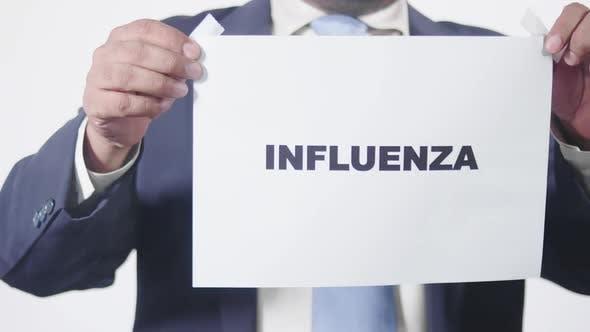 Businessman Posts Sign On Window Influenza
