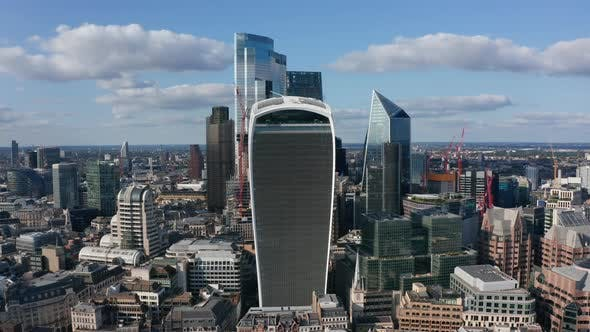 Business District with Group of Tall Modern Glossy Glass Covered Skyscrapers