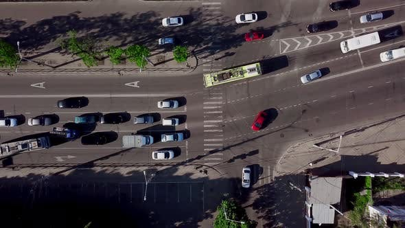 Thumbnail for Drone's Eye View - Directly Above View of Rush Hour Traffic