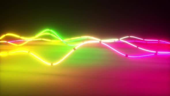 Colorful Bright Neon Glowing Graphic Equalizer