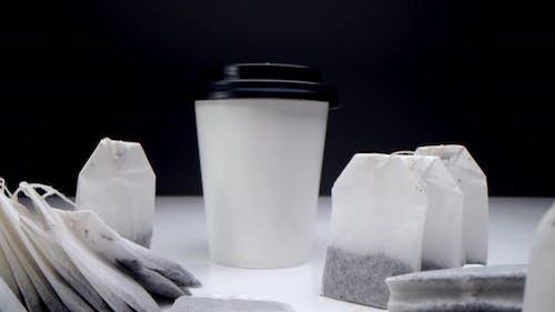 Tea Bag in a White Cup of Tea