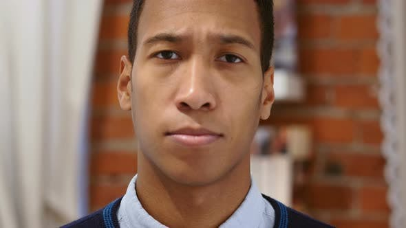 Thumbnail for Sad Young African Man Feeling Upset and Lost, Loft Background