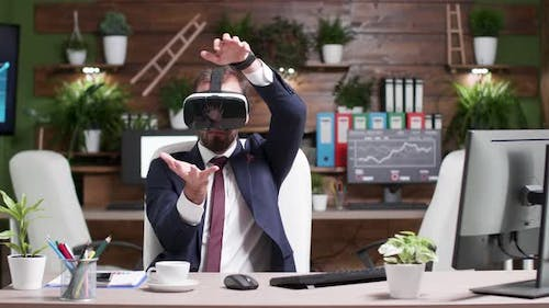 Businessman Wearing an Augmented Reality Headset