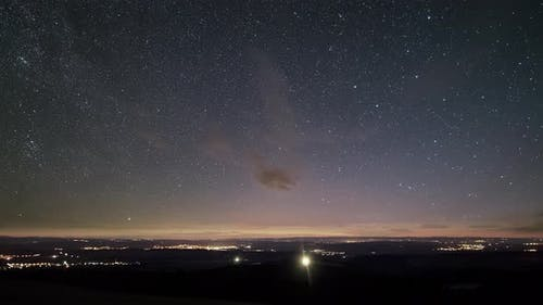 Starry Night Sky with Sars in Countryside Traffic Astronomy