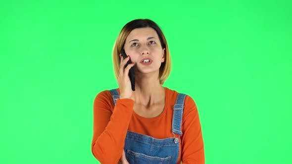 Thumbnail for Girl Talking for Mobile Phone. Green Screen