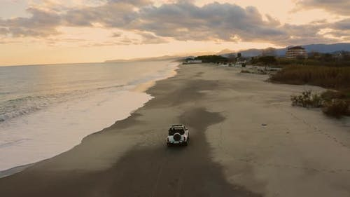 Vehicle off road in the beach