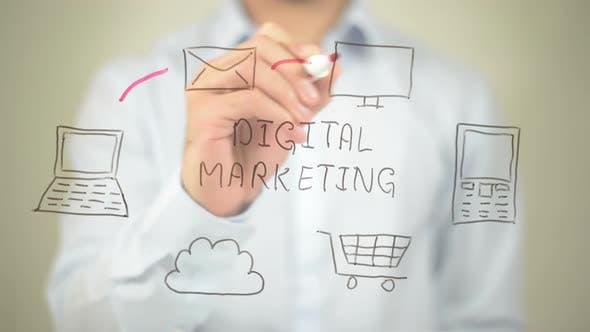 Digital Marketing, Businessman Writing on Transparent Screen