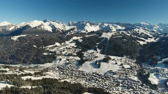 Aerial Of Town In Alps