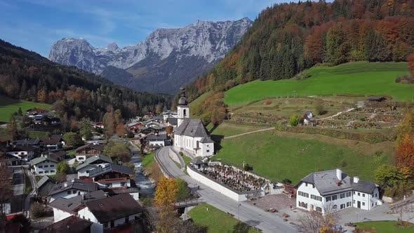 Thumbnail for Flight Around Church in Ramsau, Berchtesgaden, Germany
