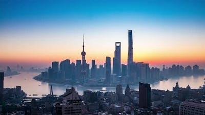 Timelapse of Shanghai City viewed , Sunrise day