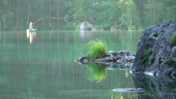 Thumbnail for Fishermen on the Morning Forest Lake