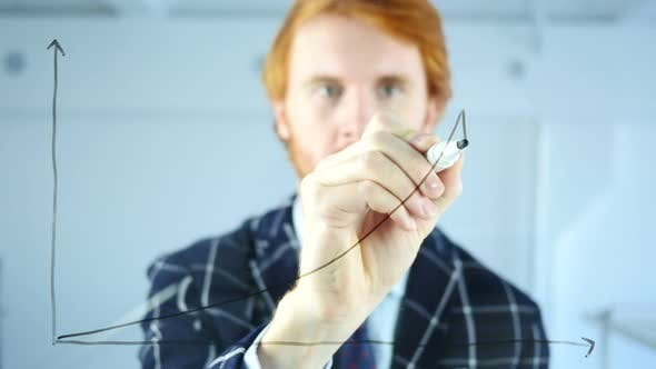 Cover Image for Drawing Growth Graph on Transparent Glass in Office, Red Hairs