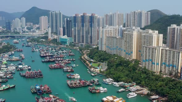 Thumbnail for Top view of Hong Kong fishing harbor port