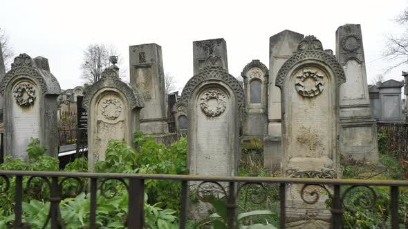 Tombstones in a Jewish cemetery