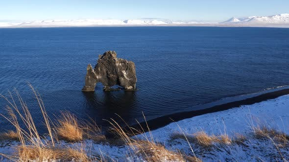 Thumbnail for Iceland View of Hvitserkur Rock Formation in Ocean During Winter 5