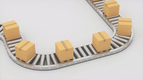 Thumbnail for Boxes moving on the conveyor belt.