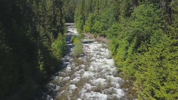 Thumbnail for Aerial Drone Of Rushing Water Rapids Between Evergreen Trees Revealing Mountains 1