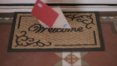 Valentines cards falling on Welcome doormat