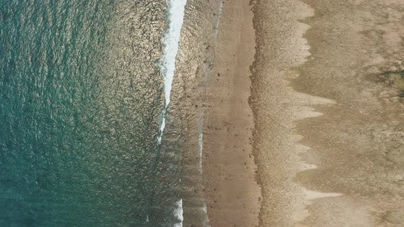 Overhead view of a fringing coral reef at low tide