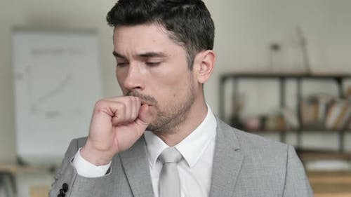 Cough, Coughing Sick Businessman