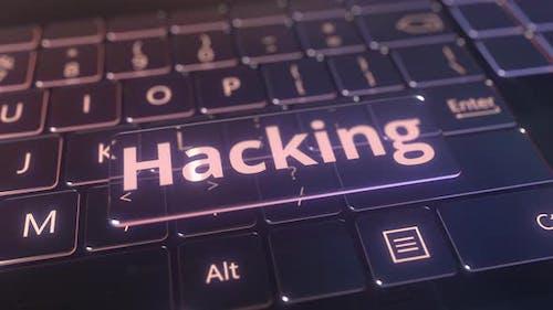 Futuristic Computer Keyboard and Transparent Hacking Key