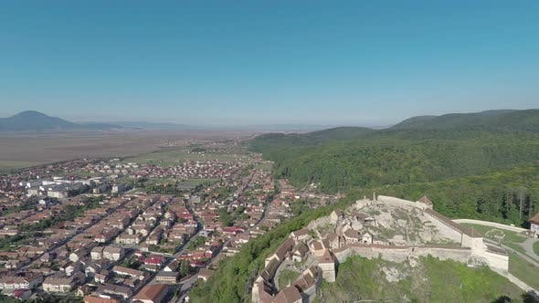 Aerial of Rasnov town and fortress