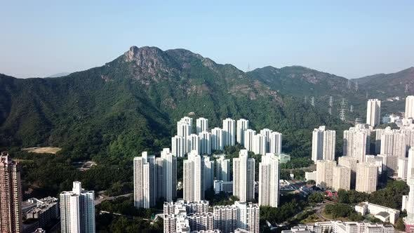 Thumbnail for Lion rock mountain and building block in Hong Kong